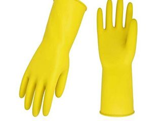 Vgo 10 Pairs Reusable Household Gloves  Rubber Dishwashing gloves  Extra Thickness  long Sleeves  Kitchen Cleaning  Working  Painting  Gardening  Pet Care  Size l  Yellow  HH4601