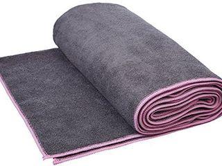 Amazon Basics Hot Yoga Mat Towel   72 x 24 Inches  Grey And Pink