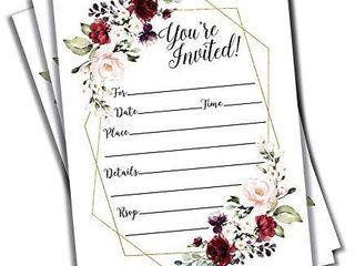 50 Elegant Floral Geometric Elegant Frame Invitation Burgundy Marsala Gold  large Size 5x7  Weddings  Bridal or Baby Shower Invite  Birthday Invitation  Any Occasion  5X7 large