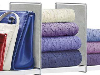 lynk Vela Shelf Dividers   Closet Shelf Organizer  Set of 2    Platinum