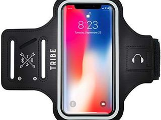 TRIBE Water Resistant Cell Phone Armband Case for iPhone 11  11 Pro  11 Pro Max  X  Xs  Xs Max  Xr  8  7  6  Plus Sizes  Galaxy S10  S9  S8  S7  Plus Sizes and More  Adjustable Elastic Band   Key Slot