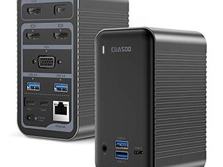 EUASOO Docking Station USB C 4K Quadruple Display Universal laptop Docking Station for MacBook and Windows  3 HDMI  VGA  Gigabit Ethernet  USB C 3 0  87W PD and 4 USB Ports  Triple Display for macOS