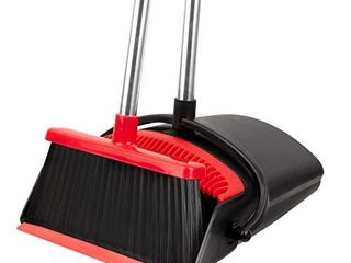 Broom and Dustpan Set   Strongest NO MORE TEARS 80  Heavier Duty   Upright Standing Dust Pan with Extendable Broomstick for Easy Sweeping   Easy Assembly Great Use for Home Kitchen Room Office lobby