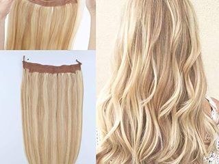 lovrio 20  Halo Hair Fish line Hair Extensions Piano Color Ash Blonde  18 Highlight with  613 Bleach Blonde Invisible Wire Hairpiece For Women