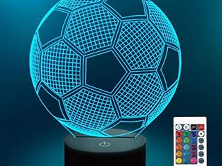 lampeez Soccer Night lights for Kids 3D Illusion Football lights 16 lED Remote Color Changing Touch Table Desk lamps Decor Cool Gift Birthday Xmas Gifts Sports Theme Fans