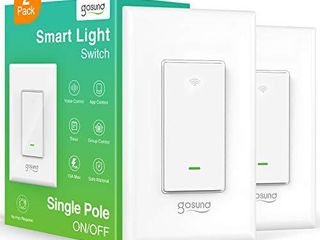 Smart light Switch  Gosund 2 4Ghz WiFi Switch Works with Alexa  Google Assistant  Remote Control Voice Control and Schedule  Neutral Wire Required  Single Pole  No Hub Required   2 Pack