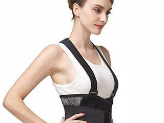 Neotech Care Back Brace with Suspenders Shoulder Straps   light   Breathable   lumbar Support Belt for lower Back Pain   Posture  Work  Gym   Black Color  Size M
