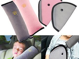 4Pack Seatbelt Pillow Car Seat Belt Covers for Kids  Adjust Vehicle Shoulder Pads Safety Belt Protector Cushion Plush Soft Auto Seat Belt Strap Cover Headrest Neck Support for Children Baby