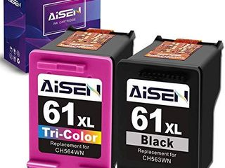 AISEN Remanufactured Ink Cartridge 61 Replacement for HP 61Xl 61 Xl Used in Envy 4500 5530 5535 Deskjet 1000 1056 1510 1512 1010 1055 2540 2542 3050 3510 3050A Officejet 2620  1 Black 1 Tri Color