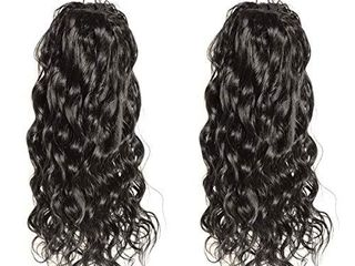WENYU Natural Wave Human Hair Drawstring Ponytail For Black Women 8A Brazilian Natural Curly Clip In long Ponytail Extension Human Hair Pieces Natural Water Wave Wet and Wavy Natural Black 18 Inch100g