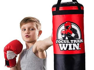 Hanging Kids Punching Bag for Ceiling   Wall 2 Ft  Unfilled   Professional Style Youth Punch Bag   Training in Martial Arts   Boxing   Karate for Boys or Girls Age 5   15   Gloves Not Included