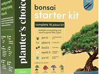 Bonsai Starter Kit   The Complete Growing Kit to Easily Grow 4 Bonsai Trees from Seed   Comprehensive Guide   Bamboo Plant Markers   Unusual Gardening Gifts Ideas for Women   Indoor Bonzai