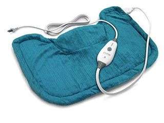Pure Enrichment PureRelief Neck and Shoulder Heating Pad  Turquoise Blue    Fast Heating Technology with Magnetic Neck Closure  4 Heat Settings  Moist Heat Therapy Option and Convenient Storage Bag