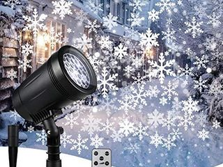 Christmas Snowflake Projector lights  Weatherproof led Projector Outdoor and Indoor  White Adjustable Snowflake Projector with Upgrade Wireless Remote Control  Spotlights Decor  Holiday Wedding