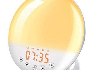 Wake Up light  SOlMORE Sunrise Alarm Clock Sunset Simulation 7 Colors 9 Alarm Sounds Snooze Function 30 Brightness Adjustable Digital Alarm Clock FM Radio Touch Control for Kids Adults Bedroom
