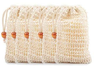 MOMSIV Soap Pouch  5 Pack Natural Ramie Mesh Bar Soap Scrub Bag for lathering  Exfoliating and Drying the Soap Pouch Homemade Soap Mesh Bag with Drawstring