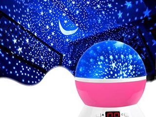 MOKOQI Star Projector Night lights for Kids with Timer  Gifts for 1 14 Year Old Girl and Boy  Room lights for Kids Glow in The Dark Stars and Moon can Make Child Sleep Peacefully and Best Gift Pink