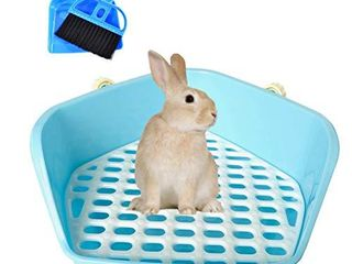 kathson Rabbit litter Box Pet Toilet Cage Box Potty Trainer Corner with Small Animal Cage Cleaner Broom Brush Dustpan for Bunny Chinchilla Guinea Pig Ferret Blue