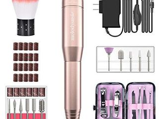 MelodySusie Portable Electric Nail Drill 11 in 1 Set  Professional Nail Drill Machine Efile Kit Manicure Pedicure Polishing Shape Tools for Acrylic Poly Gel Nails  Home Salon Use Gold