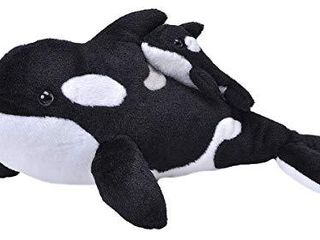 Wild Republic Mom and Baby Orca Whale  Stuffed Animal  14 inches  Gift for Kids  Plush Toy  Fill is Spun Recycled Water Bottles