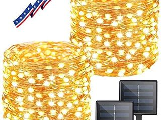 KAQ 2 Pack 300lED Super Bright Solar String lights Outdoor  Upgraded Oversize Beads  8 Modes String lights Waterproof Fairy lights for Christmas  Wedding  Party  Warm White