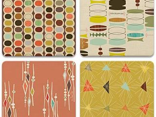 CoasterStone Absorbent Coasters  4 1 4 Inch   Retro Modern  Set of 4
