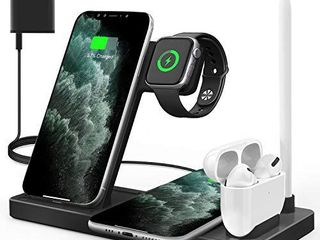 WAITIEE Updated Version Wireless Charger 5 in 1 Qi Wireless Charging Station for iWatch 6 5 4 3 2 1  AirPods3 2 1   Pencil   iPhone 12 11 11 Pro Max XR XS Max Xs X 8 8P Black No iWatch Charging Cable