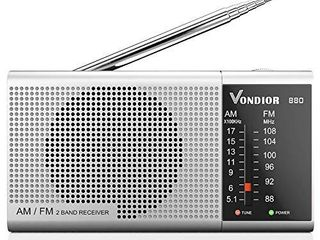 AM FM Portable Radio   Best Reception and longest lasting  AM FM Battery Radio Player Operated by 2 AA Battery  Mono Headphone Socket  by Vondior  Silver
