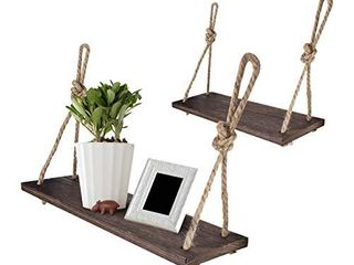 Yankario Rope Hanging Floating Shelves  Rustic Wood Wall Decor Swing Shelf with 4 Hooks  Pack of 2