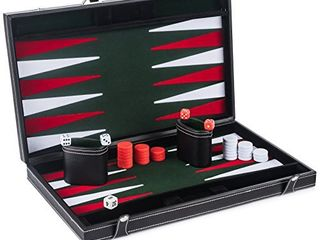 Smart Tactics Premium Backgammon Set   large 17  Wood   PU leather Folding Backgammon Board Game   Green   White   Red Felt Interior   Includes Dice Cups  Doubling Cube   Instruction Manual