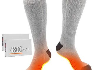 XBUTY Heated Socks for Men Women   Upgraded Rechargeable Electric Socks with 4800mAh large Capacity Battery  Up to 16 Hours of Heat  Upgraded Heating Element up to 160  3 Heat Settings  Grey