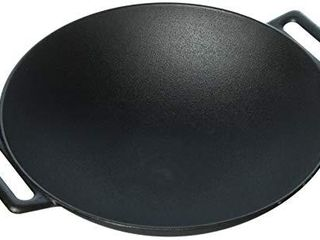 Jim Beam 12  Pre Seasoned Heavy Duty Construction Cast Iron Grilling Wok  large  Black