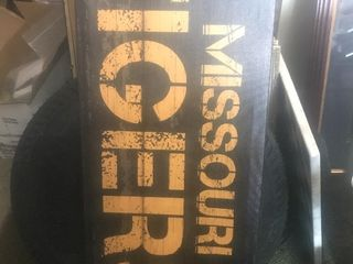large Missouri tiger Decour piece 1 x 2 1 2 on canvas as pictured