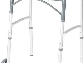 Drive Medical 10210 1 Deluxe Two Button Folding Walker with 5 Inch Wheels  Retail  31 64