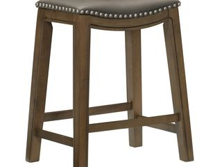 Homelegance 24  Counter Height Wooden Bar Stool Saddle Seat Barstool  Gray Brown  Retail  125 99   MATCHES lOT 13110  amp  13112