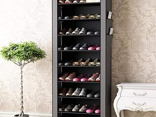 PENGKE 9 Tiers Shoe Rack with Dustproof Cover Closet Shoe Storage Cabinet Organizer Grey