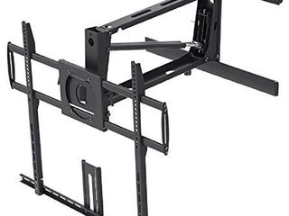 Monoprice Above Fireplace Pull Down Full Motion Articulating TV Wall Mount Bracket For TVs 55in to 100in  Max Weight 154lbs  VESA Patterns Up to 800x600  Rotating  Height Adjustable Black