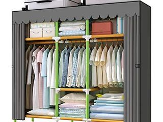 YOUUD 65 Inches Wardrobe Storage Closet Colored Rods and Grey Cover Portable Closet Storage Organizer  Quick and Easy to Assemble  Extra Sturdy  Strong and Durable