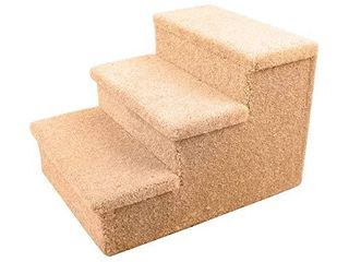 Penn Plax   3 Step Carpeted Pet Stairs for Both Cats   Dogs   18  Total Height