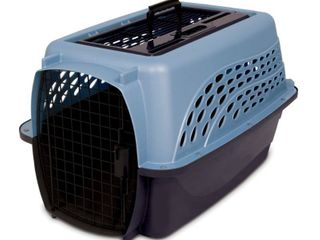 Petmate Two Door Top load 24 Inch Pet Kennel  Metallic Pearl Ash Blue and Coffee Ground Bottom