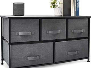 CERBIOR Wide Drawer Dresser Storage Organizer 5 Drawer Closet Shelves  Sturdy Steel Frame Wood Top with Easy Pull Fabric Bins for Clothing  Blankets   Charcoal