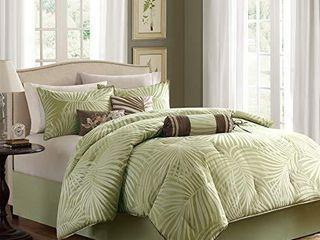 Madison Park Comforter Scenic Design All Season Hypoallergenic Down Alternative Set  Decorative Pillows  Queen 90 x90  Freeport  Palm leaf Green