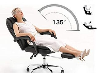 Hbada Ergonomic Executive Office Chair  PU leather Swivel Desk Chair Adjustable Height High Back Reclining Chair with Padded Armrest and Footrest Black