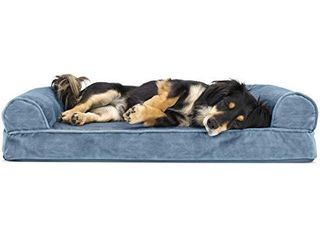 Furhaven Pet Dog Bed   Orthopedic Faux Fur and Velvet Traditional Sofa Style living Room Couch Pet Bed with Removable Cover for Dogs and Cats  Harbor Blue  Medium