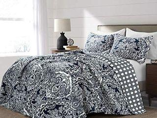 lush Decor  Navy Aubree Quilt Paisley Damask Print Pattern Reversible 3 Piece lightweight Bedding Blanket Bedspread Set  Full Queen