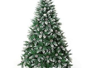 Artificial Christmas Tree 7 5 Foot Flocked Snow Trees with Pine Cone Decoration Unlit  7 5 Foot