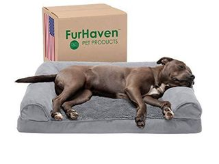 Furhaven Pet Dog Bed   Orthopedic Ultra Plush Faux Fur and Suede Traditional Sofa Style living Room Couch Pet Bed with Removable Cover for Dogs and Cats  Gray  large