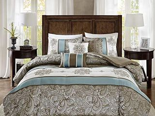 Madison Park Comforter Faux Silk Traditional luxurious Jacquard Design All Season Set  Decorative Pillows  Queen 90 x90  Blue