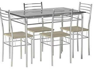 VECElO Dining Table with 4 Chairs  4 Placemats Included  Silver