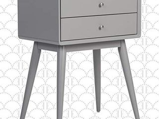 Elle Decor Rory Mid Century Side Table  Modern Accent Bedside Nightstand  Two Drawer  Gray